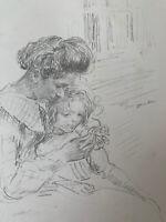 François Guiguet Gravure Lithographie Portrait Femme Avec Son Enfant