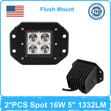 2X 16W CR LED Work Light SPOT Flush Mount Bulbs Offroad IP67 Vehicle Lamp 24/36W
