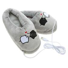 1 Pair Plush USB Foot Warmer Shoes Electric Heating Slipper Cute Pig Black&White