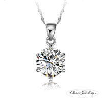 925 Sterling Silver Cubic Zirconia CZ Chain Necklace Bridal Bridesmaid Jewellery