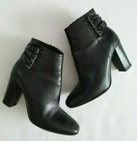 Sesto Meucci Leather Ankle Boots Heels Black Made in Italy Size 8M