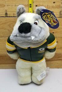 "Vintage 1988 Green Bay Packer 8"" Plush Stuffed Bull Dog NFL Play Football"