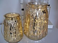 SET OF 2 LARGE GOLD GLASS CRACKLED EFFECT LED BATTERY OPERATED HANGING LANTERNS
