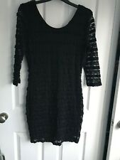 Black Lace fully lined stretch mini dress - size 12