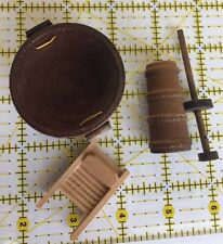 Lot 3 Wood Wooden Dollhouse Miniature Wash Tub bin Board Butter Churn Laundry