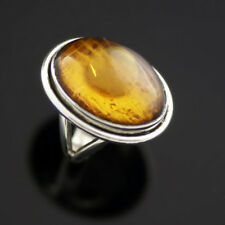Danish Silver Ring w/ Amber -VINTAGE