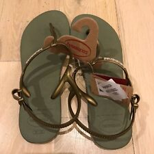 Havaiana's Women's Thongs Ankle Strap Sandals 39-40 NWT Bronze