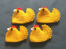 4 Stück Eierwärmer f. Ostern Motiv Kücken gehäkelt handarbeit gelb