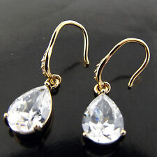 EARRINGS DROP REAL 18K YELLOW GOLD G/F PEAR SHAPE DIAMOND SIMULATED HOOK DESIGN