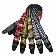 More details for braid embroidered woven guitar strap 2'' leather end for bass/acoustic/electric