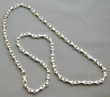 """Heavy Sterling Motorcycle Bike Chain Rocker Necklace 28.5"""" w/CZ Jewels 109.2g"""