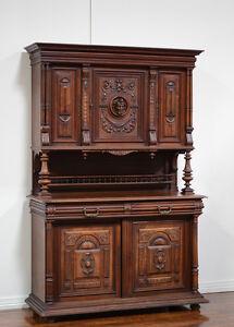 Antique French Renaissance Henry II Walnut Buffet Cabinet