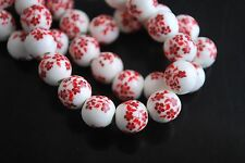 10pcs Red Plum Blossom Round Porcelain Beads Spacer Jewelry Findings 10mm New