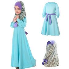 Muslim Islamic Kids Girls Maxi Dress Abaya Kaftan Scarf Hijab Arab Prayer Robe