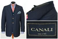 Mens CANALI Suit Blazer Jacket Gold Buttons Wool Unstructured Size EU56 UK46