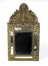 """Antique 19th Century Diminutive Dutch Baroque Style Repoussee 23"""" Tall Mirror"""