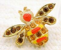 VTG Gold Tone Yellow Red Enamel Topaz Rhinestone Bee Pin Brooch