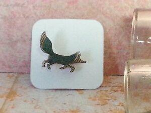 Fox Wood Brooch, Mini animal brooch, nature gift, wooden jewellery Turquoise Geo