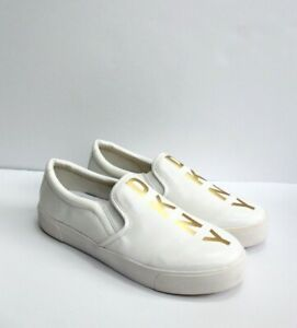 DKNY White Slip-On Logo Sneaker Shoes with Gold Letters Size 8.5M / 39M NO BOX