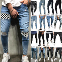 Men's Ripped Jeans Stretch Destroyed Frayed Slim Skinny Fit Denim Pants Trousers