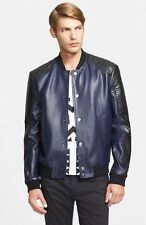 $1450 Versace Quilted Ink Black Leather Moto Jacket Sz.50 Lambskin Bomber Sale