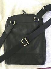 FOSSIL NWOT Black Leather Touring Crossbody Rectangle Handbag ~ Utility Galore!