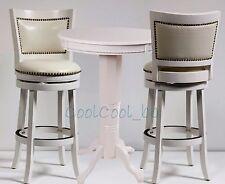 New listing 3 Piece White Finish Pub Set Home Dining Room Kitchen Furniture Nailhead Trim