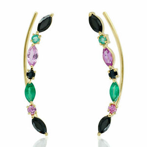 Christmas Natural Emerald Ear Climber Earring 925 Sterling Silver Jewelry DJ