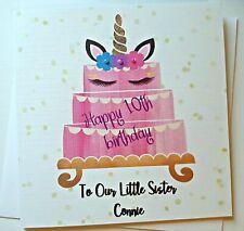 CUTE PERSONALISED UNICORN CAKE BIRTHDAY CARD SISTER NIECE COUSIN DAUGHTER FUN