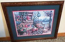 Homco Home Interiors Picture  Barbara Mock Colorful Flowers Log House Porch Dog