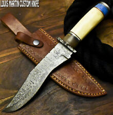 Louis Martin Handmade Damascus Steel Camel Bone Hunting Bowie Knife
