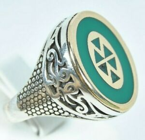 Turkish Handmade green 925 Sterling Silver  Mens Ring Size 11