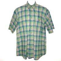 Orvis Plaid Short Sleeve Button Front Casual Shirt Men's Large Green Gray Cotton