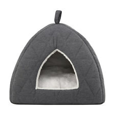 Quilted Cat Igloo House Cave Pet Puppy Kennel Dog Bed Soft Crate Pad Warm Cage