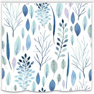 UNIFEEL Mordern Art Blue Watercolor Leaves Pattern Fabric Shower Curtain Light C