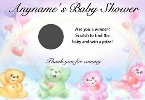 10 Personalised Baby Shower Scratch Cards - Size A6 - Party Game, Favours T1