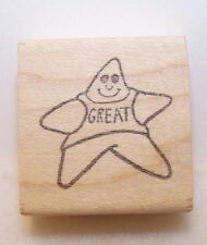 New Vintage STAMP AFFAIR Wood Rubber Stamp GREAT STAR Character Clean Never Used