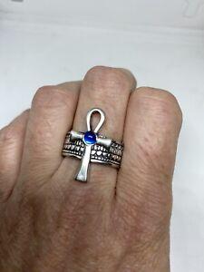 Vintage Ankh Silver White Bronze Size Ring Size 13.5
