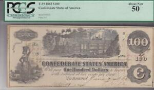 1862 Confederate States $100 Note Train & Hoer John Boston Hand Signed PCGS 50