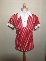 Vintage Sybil Womens Blouse Red White Polka Dot Short Sleeve Buttefly Collar 9