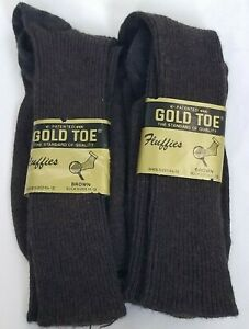 Vintage Gold Toe Mens Cotton Fluffies Socks Brown Made in USA Lot of 2 Pair NWT
