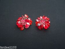 70er years Earrings Clips Vintage Red/Pink Fashion Jewellery (172)