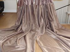 "GORGEOUS MOCHA VELVET & FAUX SILK CURTAINS 46""w x 90""L (118 x 230 cm).  Ring top"