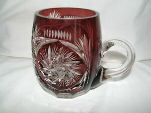 cut to clear red LEAD CRYSTAL beer stein tankard Germany