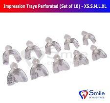 Dental Impression Trays Rim Lock Perforated (Set of 10) XS.S.M.L.XL Upper Lower