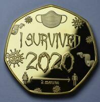 I Survived 2020 Medal Coin With Clear Case Commemorative Memento Souvenir Gold
