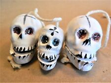 "Mexican Day of the Dead Set L of 3 Painted Clay Skull Clackers/ 1 and 1/4"" tall"