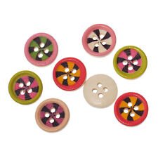 25 Round Wooden Mixed Colour Windmill Design 4 hole Buttons 15mm Sewing