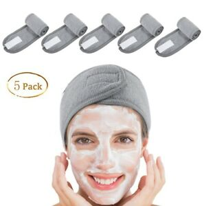 5PCs Spa Headband Make Up Wrap Head Terry Cloth Stretch Towel with Magic Tape