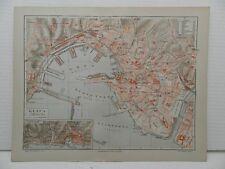 Genova GENOVA ZENA porto molo vecchio mappa della città 1905